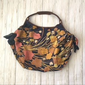 Anthro Pilcro Satin Floral Boho Hobo Handbag Purse